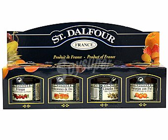 St. Dalfour Surtido de mermeladas fresa, melocotón, ciruela y naranja Pack 4 u x 28 g
