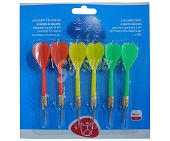 CUP´S Juego de dardos de colores para dianas convencionales Pack de 6 unidades