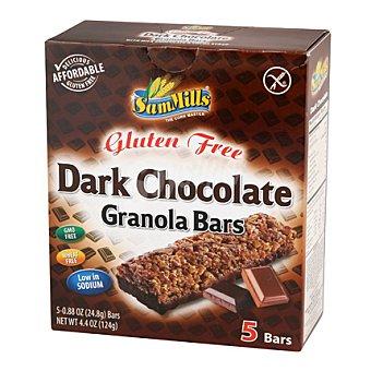 SAN MILLS Barritas de cereales chocolate negro Sin Gluten Caja de 5 unidades (124 gramos)
