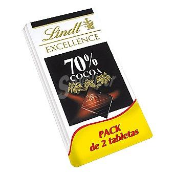 Lindt - Excellence Tableta de chocolate negro 70% cacao 2x100 g