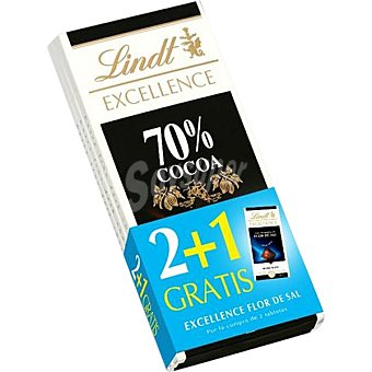 LINDT EXCELLENCE Chocolate negro 70% cacao pack 2 tabletas 100 g + gratis 1 tableta de Lindt Excellence Flor de Sal Pack 2 tableta