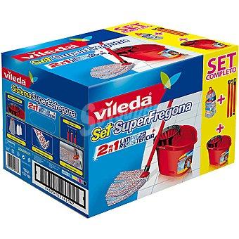 Vileda set Superfregona con fregona 2 en 1 limpieza + resistencia + cubo con escurridor + palo