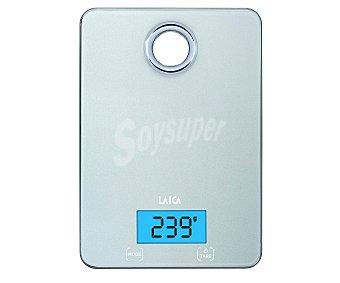 Laica Báscula de cocina de hasta 5 Kilogramos de peso, display LCD y agujero colgador, color gris, modelo Compact KS1300 1 unidad