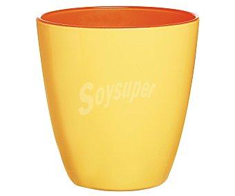 LUMINARC Vaso de cristal con 25 cl de capacidad, diseño liso bicolor naranja-limón con acabado mate modelo Spring Break 1 unidad