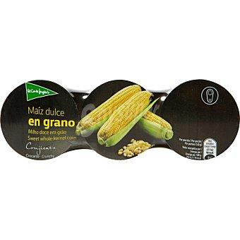 El Corte Inglés Maíz dulce en grano neto escurrido Pack 3 latas 140 g