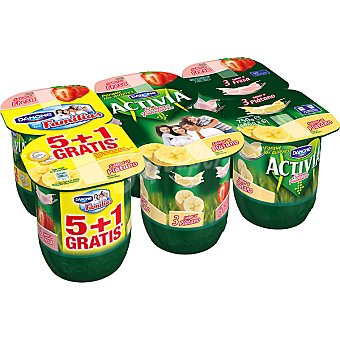 Danone Activia Yogur 3 sabor fresa + 3 sabor plátano pack 5 unidades 125 g + 1 gratis Pack 5 unidades 125 g