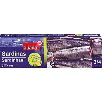 Aliada Sardinas en aceite de oliva neto escurrido Pack 2 lata 80 g