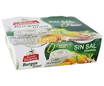 García Baquero Queso fresco de Burgos 0% sin sal Pack 4 envases 60 g