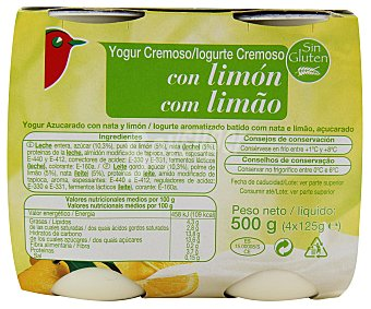 Auchan Yogur cremoso azucarado con limón y nata Pack de 4 unidades de 125 gramos