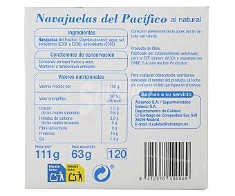 Auchan Navajuelas del pacífico al natural 63 gramos peso escurrido