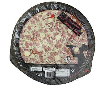 Auchan Pizza de jamón y queso cocida en horno de piedra 400 gramos