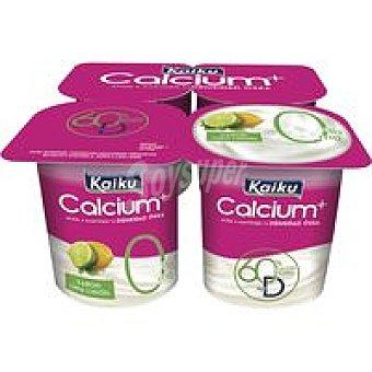 KAIKU Yogur calcio % lima-limón pack 4x125g
