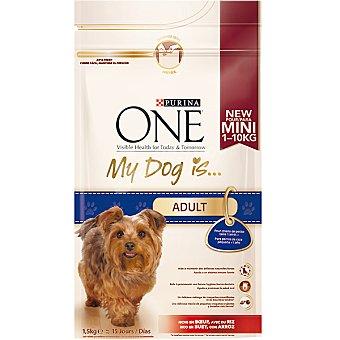 One Purina My dog is adult. Alimento para perros de raza pequeña adultos rico en pollo y arroz  paquete 1,5 kg