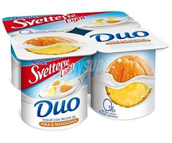 Sveltesse Nestlé Yogur Light Duo con trozos de piña y mandarina Pack 4 Unidades de 125 Gramos