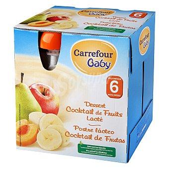 Carrefour Baby Postre lácteo de cocktail de frutas desde 6 meses sin azúcar añadido Carrefour Baby Pack de 4 bolsitas de 85 g