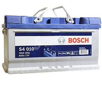 Bosch Batería de automóvil de 12v y 80Ah, S4 010, con potencia de arranque de 740 Amperios 010, con potencia de arranque de 740 Amperios