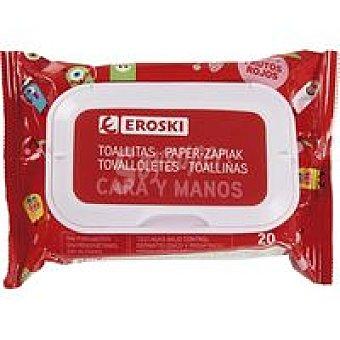 Eroski Toallitas infantiles cara-manos Paquete 20 unid