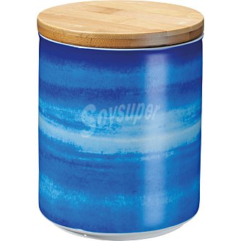 Casactual Strippes Tarro de porcelana con tapa de bambú a rayas de colores 1 Unidad