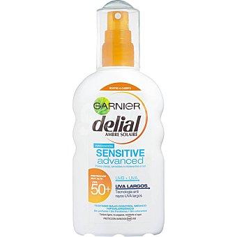 Delial Garnier Advanced locion solar FP-50+ resistente al agua spray 200 ml para piel clara sensible e intolerante al sol Sensitive Spray 200 ml