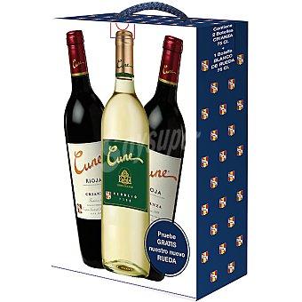 Cune Vino tinto crianza D.O. Rioja Estuche 2 botellas 75 cl + regalo de vino blanco verdejo D.O. Rueda Estuche 2 botellas 75 cl
