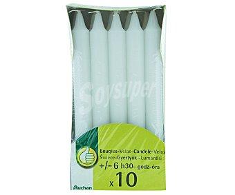 PRODUCTO ECONÓMICO ALCAMPO Velas decorativas de color blanco Pack de 10 Unidades