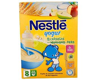 Nestlé Papilla instantánea de 8 cereales y yogur de manzana y pera especial para bebés a partir de 8 meses 250 gramos