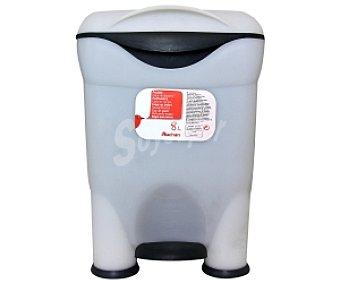 Auchan Cubo de basura con pedal baño Blanco-Negro 8 Litros 1 Unidad