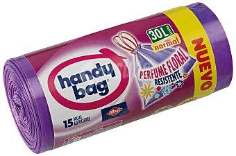 Handy Bag Bolsas de basura con autocierre blanca perfumada 55x60 envase 30 L Paquete 15 bolsas