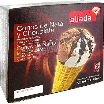 Aliada Cono con helado de nata y chocolate 6 unidades estuche 720 ml 6 unidades