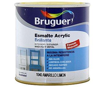 BRUGUER Esmalte Decorativo Acrílico, Color Amarillo Limón, Acabado Brillante 0,25 Litros