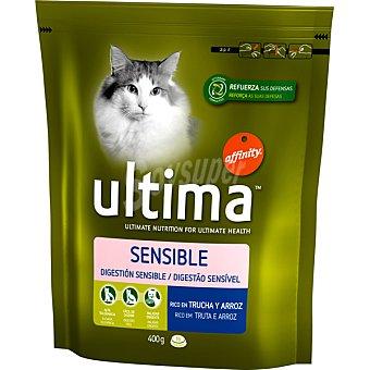 Ultima Affinity Alimento para gatos de digestión sensible rico en trucha y arroz Adult Envase de 400 g