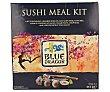 Kit de sushi que contiene una esterilla de bambú, sushi nori, arroz de sushi, vinagre para sushi , salsa de soja japonesa, pasta de wasabi, palillos y una receta Paquete 315 g Blue Dragon