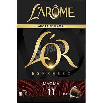 L'Arôme Espresso Marcilla Magma 10 cápsulas compatibles con máquinas de café Nespresso intensidad 11 estuche 52 g 10 c