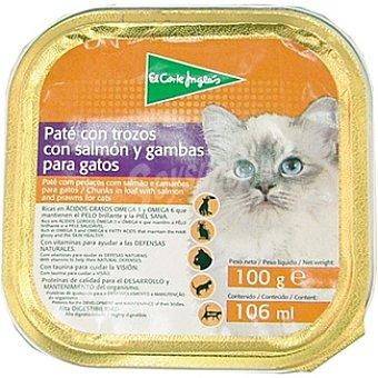 El Corte Inglés Paté con trozos con salmón y gambas para gato Tarrina 100 g