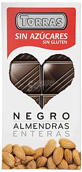 Torras Chocolate negro almendras sin azúcar sin gluten 150 g