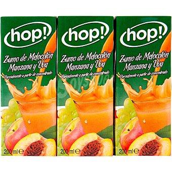 Hop! zumo de melocotón manzana y uva parcialmente a partir de concentrado Pack 6 envases 200 ml