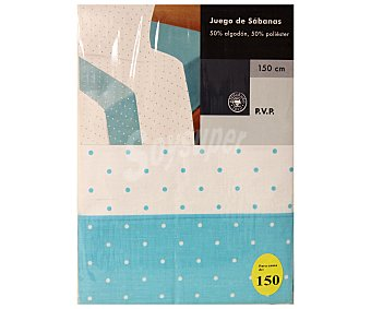 AUCHAN Juego de sábanas estampado lunares, color azul celeste para cama de 150 centímetros 1 Unidad