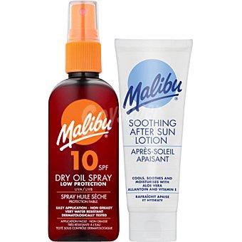 MALIBU Aceite protector solar seco FP-10 resistente al agua + loción after sun spray de 100 ml
