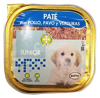 Bobby Comida perro junior pate pollo pavo verduras Tarrina de 300 g