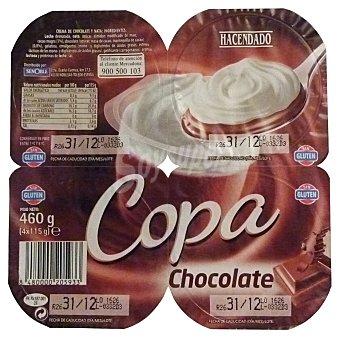 Hacendado Copa chocolate nata Pack 4 x 115 g - 460 g