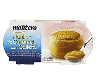 Montero Natillas de caramelo con galleta Pack 2x125 g
