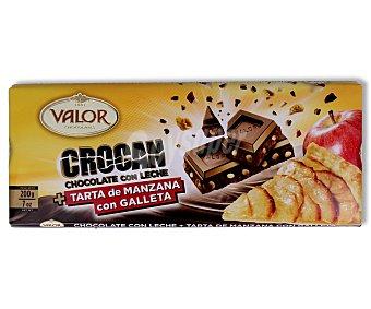 Valor Chocolate con leche y tarta de manzana con galleta 200 gramos