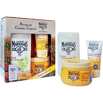 Le Petit Marseillais pack compuesto por gel de baño flor de azahar + bálsamo corporal con karité + crema de manos hidratante con karité tubo 75 ml frasco 400 ml