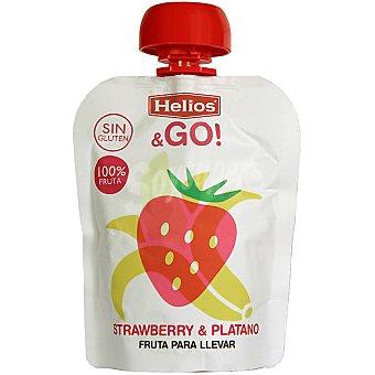 Helios & Go Fresa y plátano 100% fruta para llevar envase 90 g