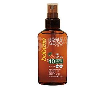 Babaria Aceite solar bronceador seco, con extracto de zanahoria y factor de protección 10 (bajo) 100 ml