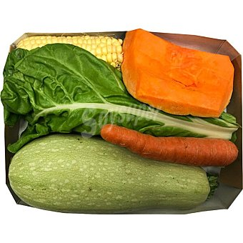 Potaje de acelgas con calabacín blanco, calabaza, zanahoria y piña de maíz peso aproximado bandeja 1,5 kg