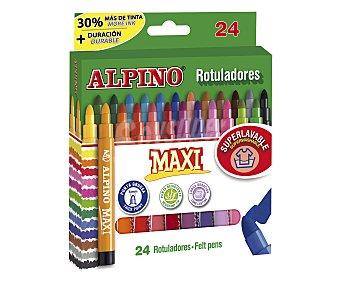 Alpino Caja de 24 rotuladores de colores con punta gruesa de 6 milímetros, ultralavables y de larga duración 1 unidad