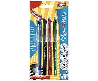 Paper Mate Lote de 4 bolígrafos con tapa y grip suave, con punta media con grosor de escritura de 1 milímetro y tinta gel borrable por fricción de color azul, negro, rojo y verde Replay premium