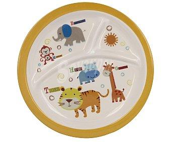 TABERSEO Plato llano dividido fabricado en melamina con estampado de animales, modelo Safari 1 unidad