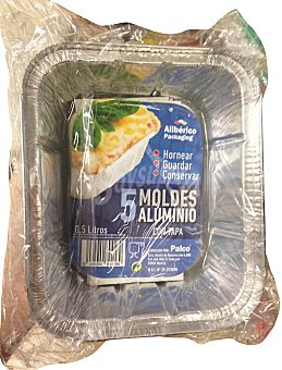 Aliberico Molde desechable aluminio rectangular tapa 1/2 kg Paquete 5 u